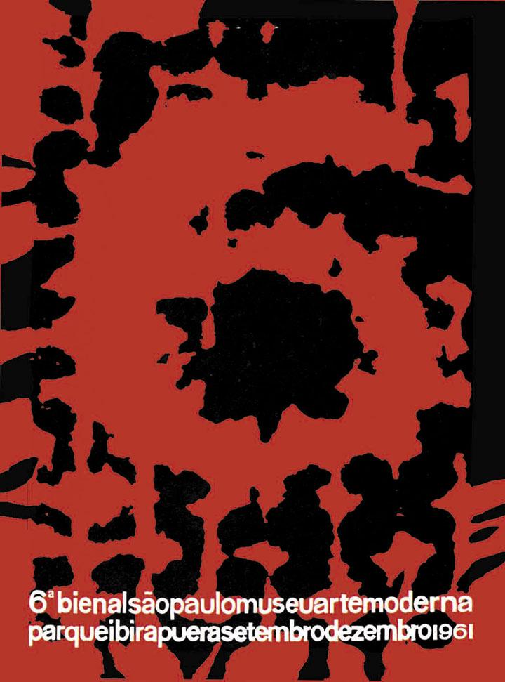 O enfraquecimento dos rigores da ortodoxia geométrica que ocorria na pintura repercute no design. O passo anterior - tratar de temas gráficos, autônomos em relação à pintura - consolida-se, mas a concisão e a limpeza da linhagem construtiva cedem lugar à tematização das desordens escondidas sob ordens aparentemente rigorosas. Neste caso, isso se dá por meio da ampliação de um detalhe de uma retícula - um rigoroso sistema de ordem para geração de imagens impressas -, o qual revela as irregularidades produzidas pelo contato da tinta com as rugosidades do papel. O resultado é um novo salto, desta vez em termos de vigor e ousadia da linguagem gráfica. Bienal 50 Anos, 1951-2001, 2001, p.294