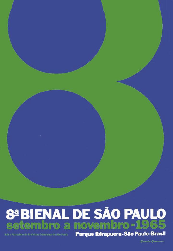 <p>O universo próprio da linguagem gráfica retorna à cena, e o tema é novamente o numeral, já tratado nos cartazes da quinta e da sexta Bienais, e que seria novamente tematizado anos mais tarde. Neste caso, é investigado o limite da legibilidade do número oito em função do enquadramento, e não em função da definição da imagem, como no cartaz da sexta Bienal. As cores são os mesmos azul e verde adotados por Aloísio Magalhães no símbolo da instituição, que havia sido projetado e implantado em 1963. Bienal 50 Anos, 1951-2001, 2001, p.294</p>