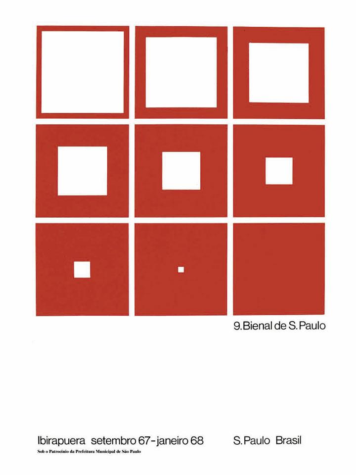 A precisão do design da chamada escola suíça comprova o quanto pode ser fecunda a máxima menos é mais. O número nove dá origem aos nove quadrados, e a seqüência visual faz alusão às transformações pelas quais passa a arte no período: parte-se de um campo bem definido e delimitado por uma moldura, e caminha-se em direção a um campo onde não há distinção entre o que está dentro e o que é moldura, ou seja, a uma obra cujas fronteiras passam a ser impossíveis de precisar. Bienal 50 Anos, 1951-2001, 2001, p.296