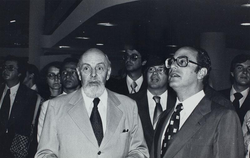 Abertura da 15ª Bienal com as presenças de Luiz Fernando Rodrigues Alves, presidente da Bienal, e de Paulo Maluf, governador de São Paulo