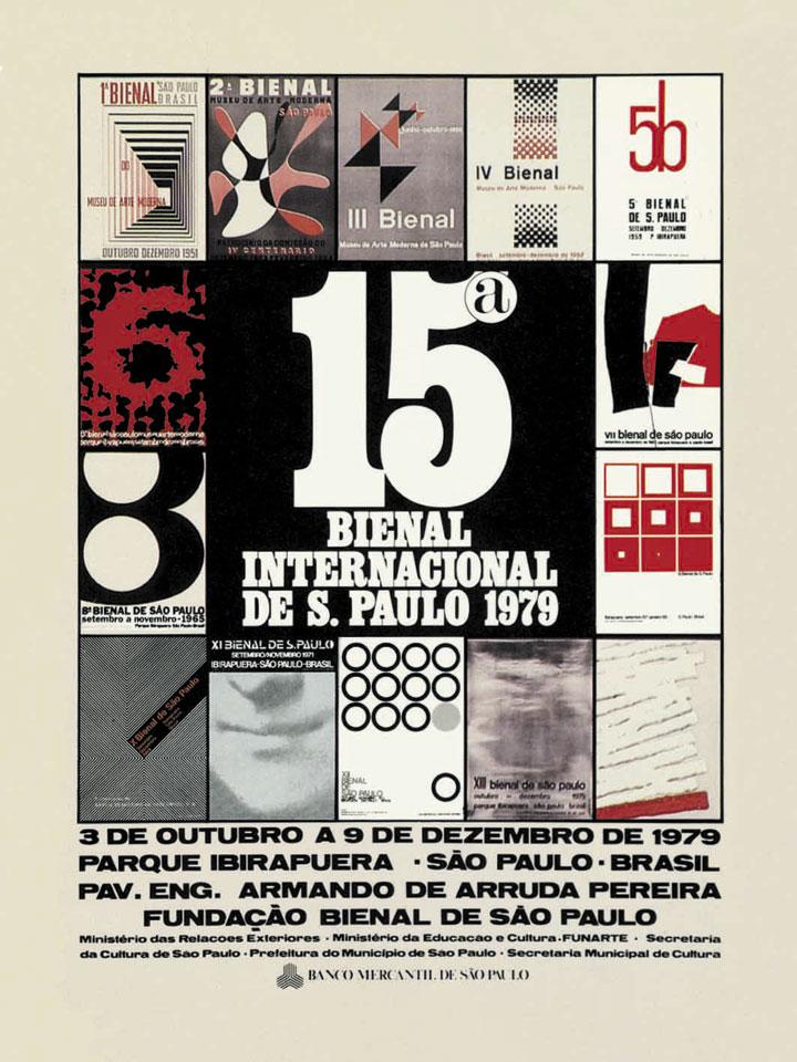 Esta foi a Bienal das Bienais, edição programada para ser a reunião das obras estrangeiras premiadas nas 14 edições anteriores. Em vista disso, o curador encomendou um cartaz no qual deveriam necessariamente ser incluídas reproduções em formato reduzido dos cartazes de todas as edições anteriores. Isso limitou o trabalho do designer a um arranjo envolvendo as 14 imagens, transformadas por ele em moldura para o quadrado preto central, no qual se destaca o número 15. Bienal 50 Anos, 1951-2001, 2001, p.298
