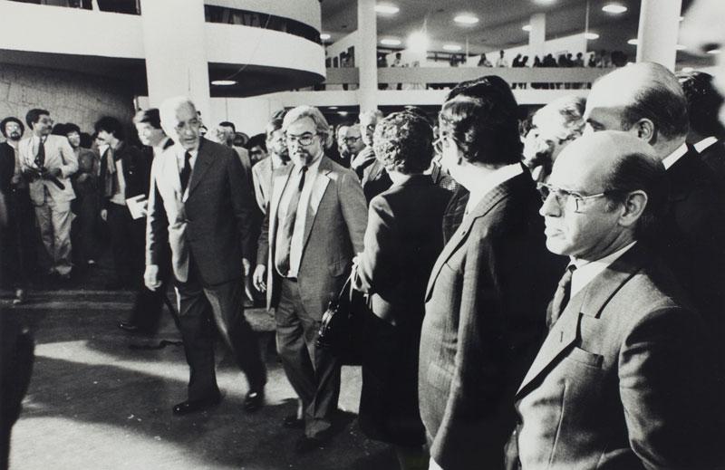 Abertura da 17ª Bienal com o governador Franco Montoro e o presidente da Bienal Luiz Diederichsen Villares