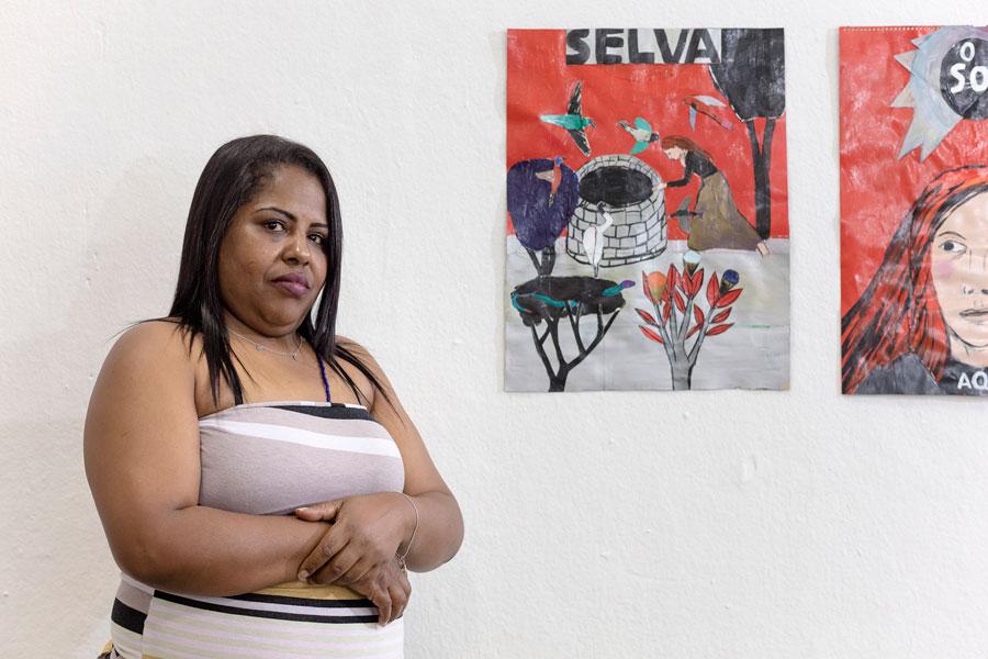 Bruno Moreschi, Ação Audioguia - Mais vozes: Rosângela Silveira Jerônimo (ajudante geral de limpeza da Bienal) comenta pintura da artista Vânia Mignone