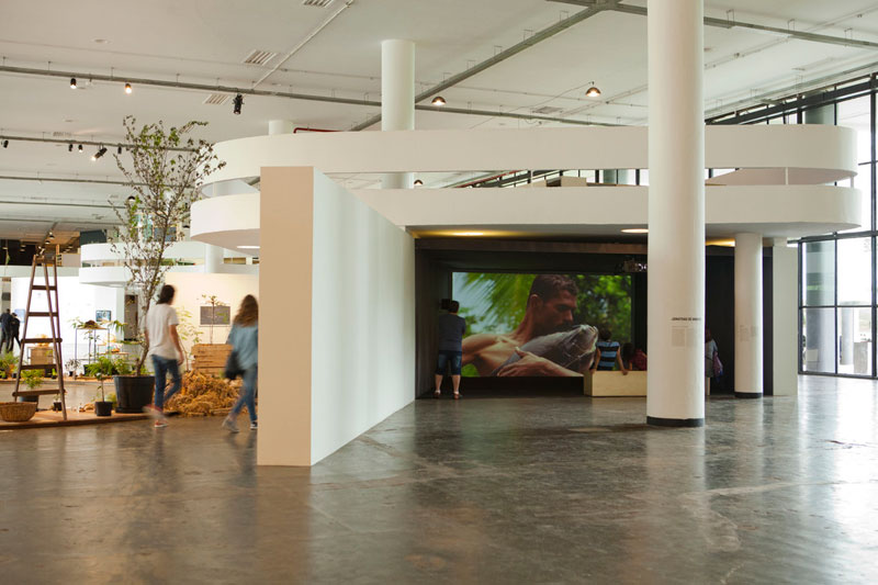 Visitation at the 32nd Bienal. On the left is Ruth Ewan's installation 'Back to the Fields'. On the right is Jonathas de Andrade's film 'O Peixe' [The fish]