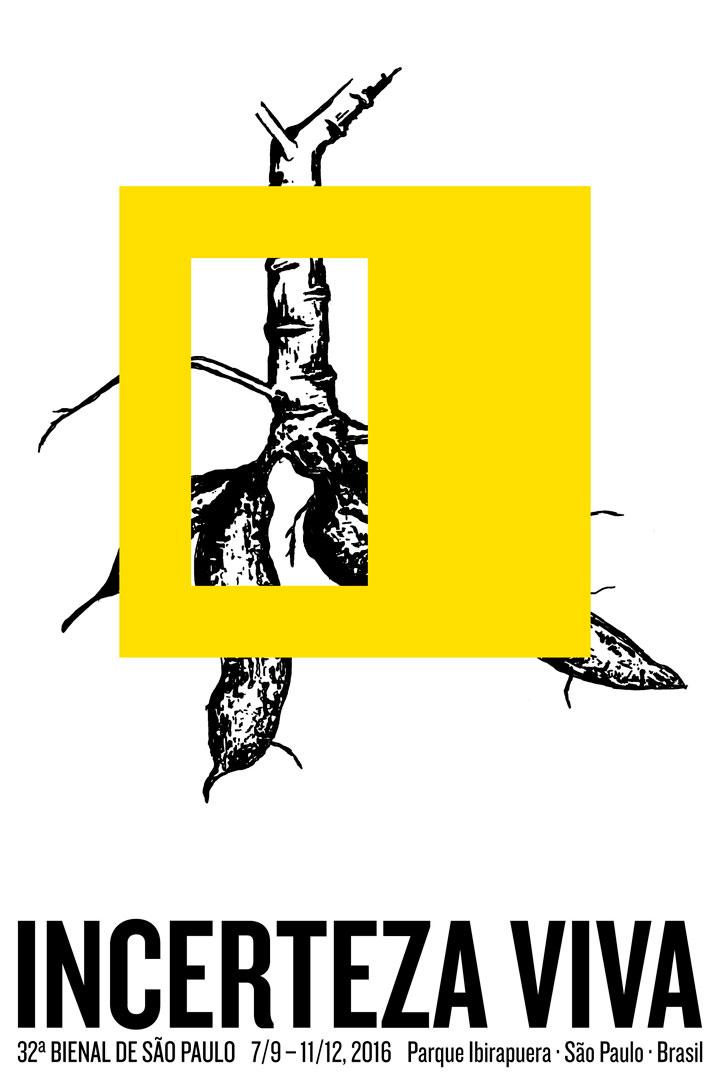 Uma referência aos sinais simplificados de orientação comuns em trilhas (hiking) e o apelo visual de desenhos especializados de seres vivos são o mote para a criação dos cartazes da 32ª Bienal. Animais e plantas facilmente reconhecíveis e de alguma maneira presentes no universo cultural e/ou natural brasileiro ganharam traços simplificados, distantes do detalhamento científico. A água-viva, o caranguejo e a raiz da mandioca ecoam o patrimônio cultural e ambiental do Brasil. Os sinais partem de formas elementares da geometria e contrastam fortemente com os desenhos feitos à mão. As cores amarelo, vermelho e azul, retiradas de normas de sinalização, são sempre aplicadas aos sinais, mas referem-se às imagens e evocam ideias como perigo, alerta, atenção e vida. Na sobreposição de elementos, sintetiza-se a ideia de incerteza como um ente vivo com o qual temos não apenas que conviver, mas também nos relacionar.