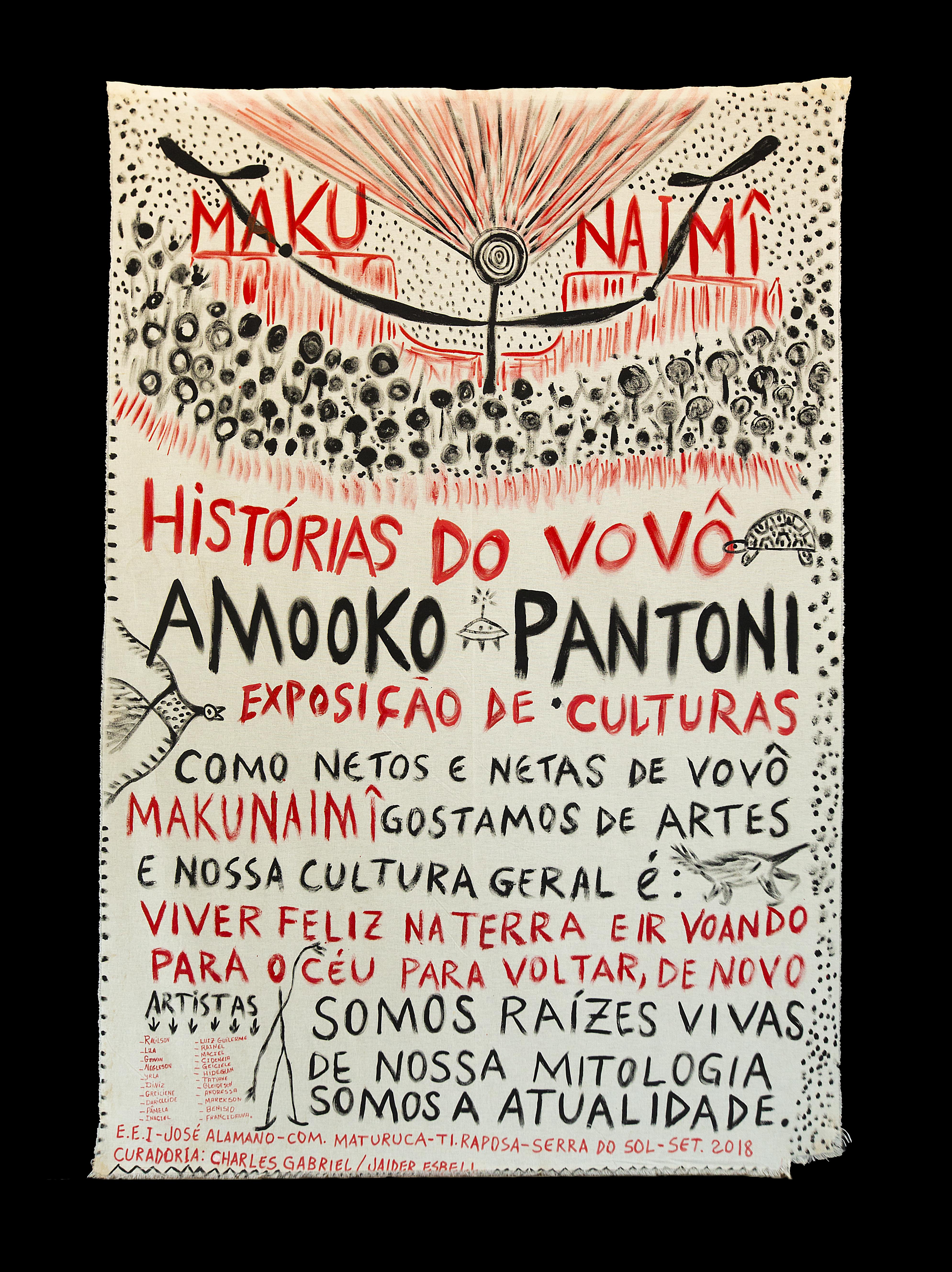 Jaider Esbell, <i>Amooko pantoni - Histórias do vovô Makunaimî</i>, 2018. Foto: Marcelo Camacho. Cortesia do artista