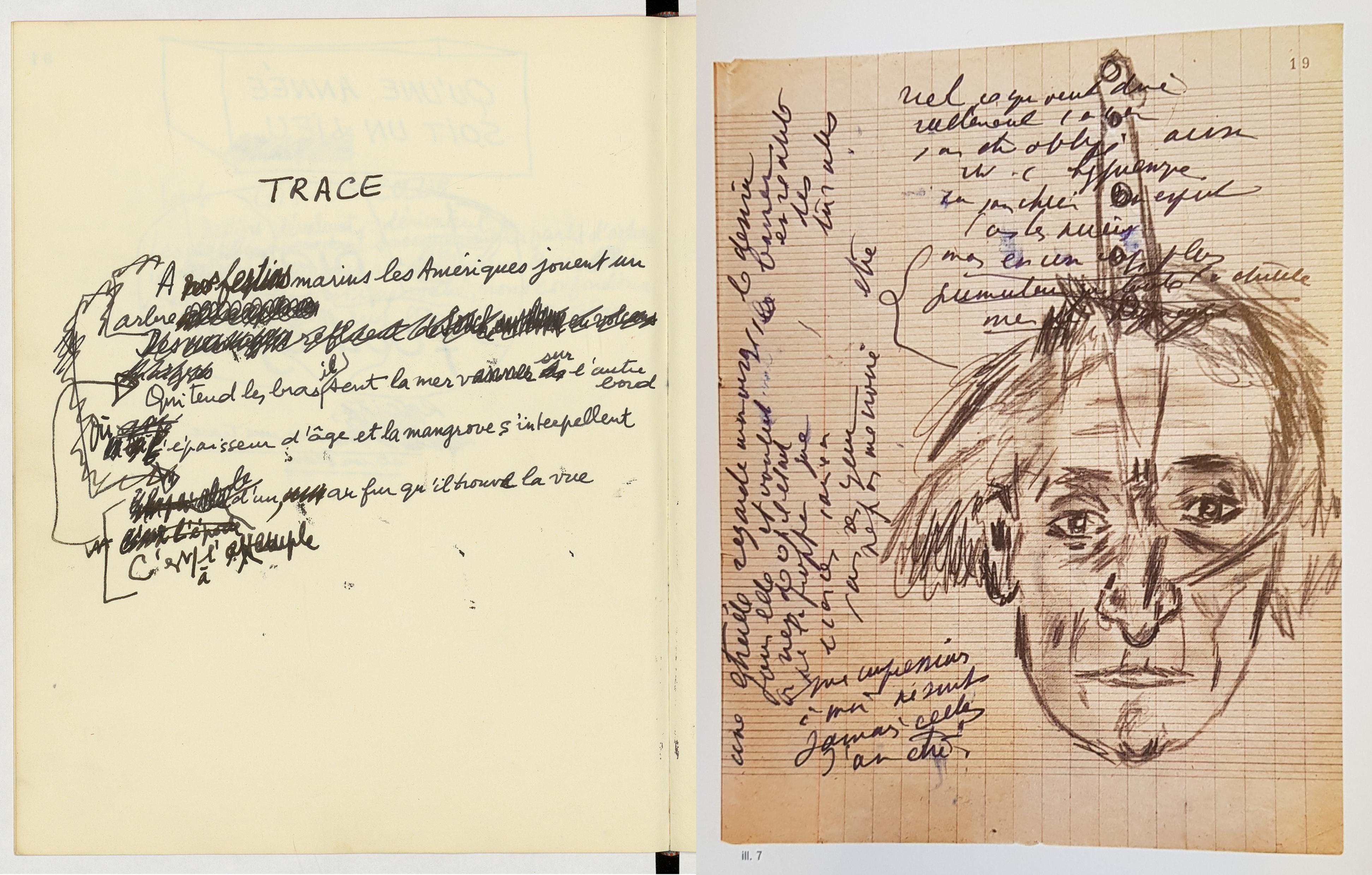 Édouard Glissant, <i>Cahier d'un Voyage sur le Nil</i> [Caderno de uma viagem ao Nilo], 1988. Bibliothèque nationale de France Antonin Artaud, Caderno 253. Bibliothèque nationale de France