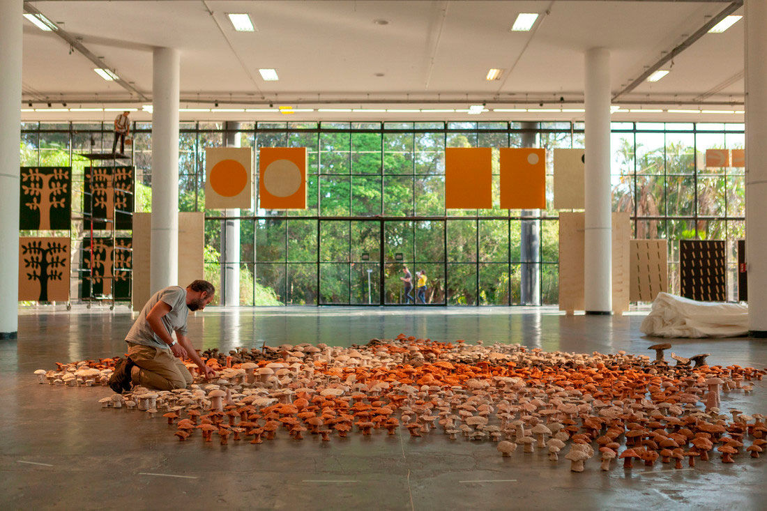 Antonio Ballester Moreno during the installation of his artwork in the 33rd Bienal