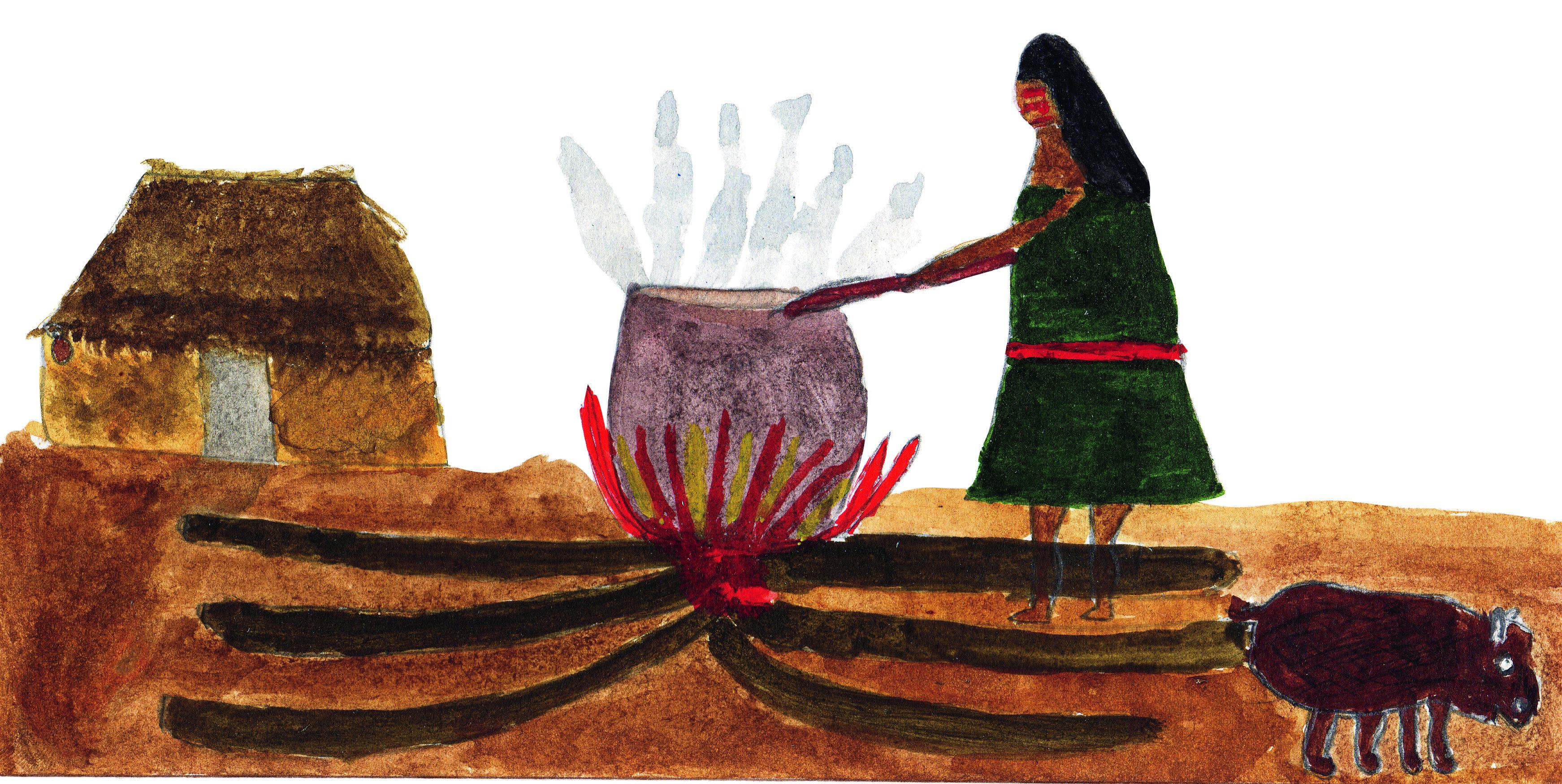 Sueli Maxakali, <i>Ũn te kuxak kuk top hemãhã</i> [Ela tira gordura da capivara], 2005. Cortesia da artista